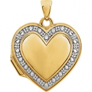14kt Yellow/White 17.75X18.00 MM Polished TWO TONE HEART SHAPED LOCKET