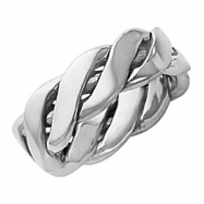 14kt White SIZE 10 Polished HAND WOVEN BAND