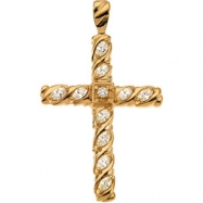 14kt Yellow 3/4 CTW Cross Pendant with Diamond