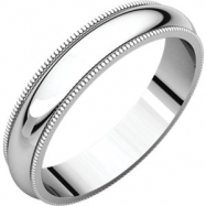 10kt White 04.00 mm Milgrain Band
