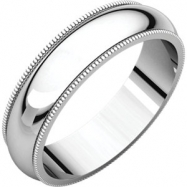10kt White 05.00 mm Milgrain Band