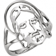 Sterling Silver SIZE 08.00 LADIES Polished FACE OF JESUS CHASTITY RING