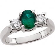 Platinum Ring Complete with Stone 07.00 NONE Oval 07.00X05.00 MM NONE Polished EMERALD AND 3/8CTW DI