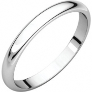 10kt White 02.50 mm Half Round Band