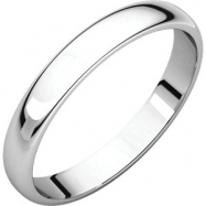 10kt White 03.00 mm Light Half Round Band