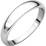 14kt White 04.00 mm Half Round Tapered Band