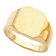 10kt Yellow 14.00X12.00 MM Polished GENTS SIGNET RING W/BRUSH FINI