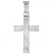 14kt White 20.00X13.00 MM Polished CROSS PENDANT