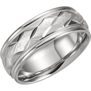 14kt White Band 07.00 NONE Complete No Setting Polished DUO BAND. Price: $856.16