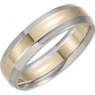 14kt Yellow/White Band 11.00 06.00 MM Complete No Setting Polished TWO TONE INSIDE ROUND BAND