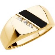 14kt Yellow Mens Onyx and 1/10 CTW Diamond Ring