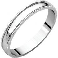14kt White 03.00 mm Light Milgrain Band