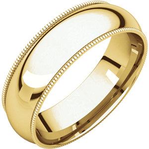 10kt Yellow 06.00 mm Comfort Fit Milgrain Band. Price: $563.17