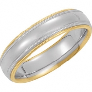 14kt White/Yellow SIZE 04.50 Polished TWO TONE COMFORT FIT BAND