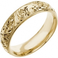 14kt Yellow SIZE 05.00 Polished HAND ENGRAVED BAND