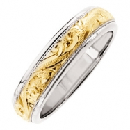 14kt White/Yellow SIZE 12 Polished TWO TONE HAND ENGRAVED BAND