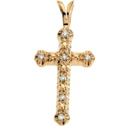 14kt Yellow 20.00X13.00 mm Cross Pendant with Diamond