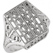 14kt White RING Polished FILIGREE MOUNTING