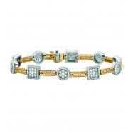 Diamond square & round 2 bars bracelet