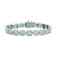 Diamond square & oval bracelet