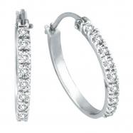 Diamond Hoop Earrings, 14K White Gold