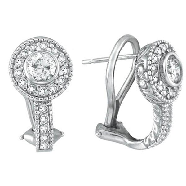 Bezel Diamond Earrings White Gold. Price: $2680.00