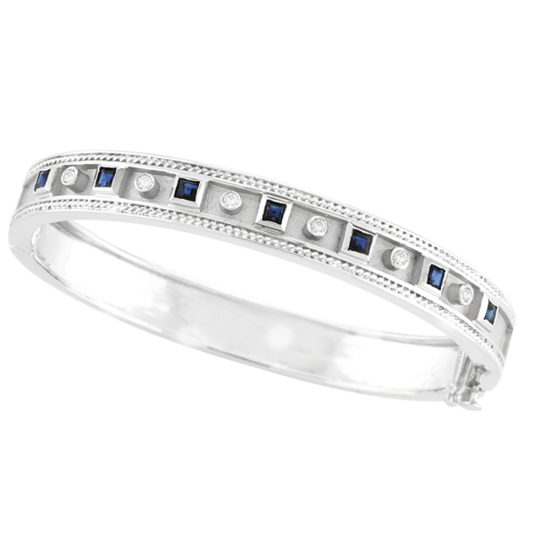 Antique Style Diamond & Sapphire Bangle . Price: $3261.33