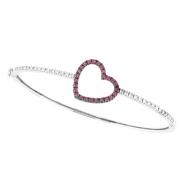Pink Sapphire & Diamond Heart Bangle