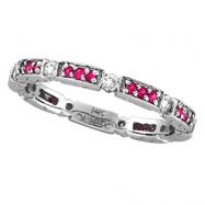 Diamond And Pink Sapphire Eternity Stack Ring Band