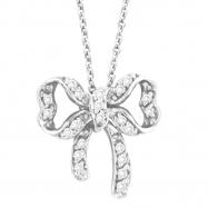 Diamond Bow Pendant Necklace