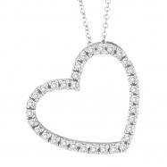 Diamond Heart Pendant Necklace White Gold