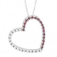 Diamond & Pink Sapphire Heart Pendant Necklace