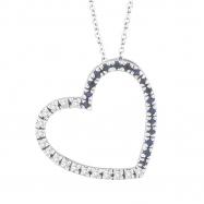 Diamond & Sapphire Heart Pendant Necklace