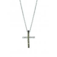 Champagne & white diamond cross necklace