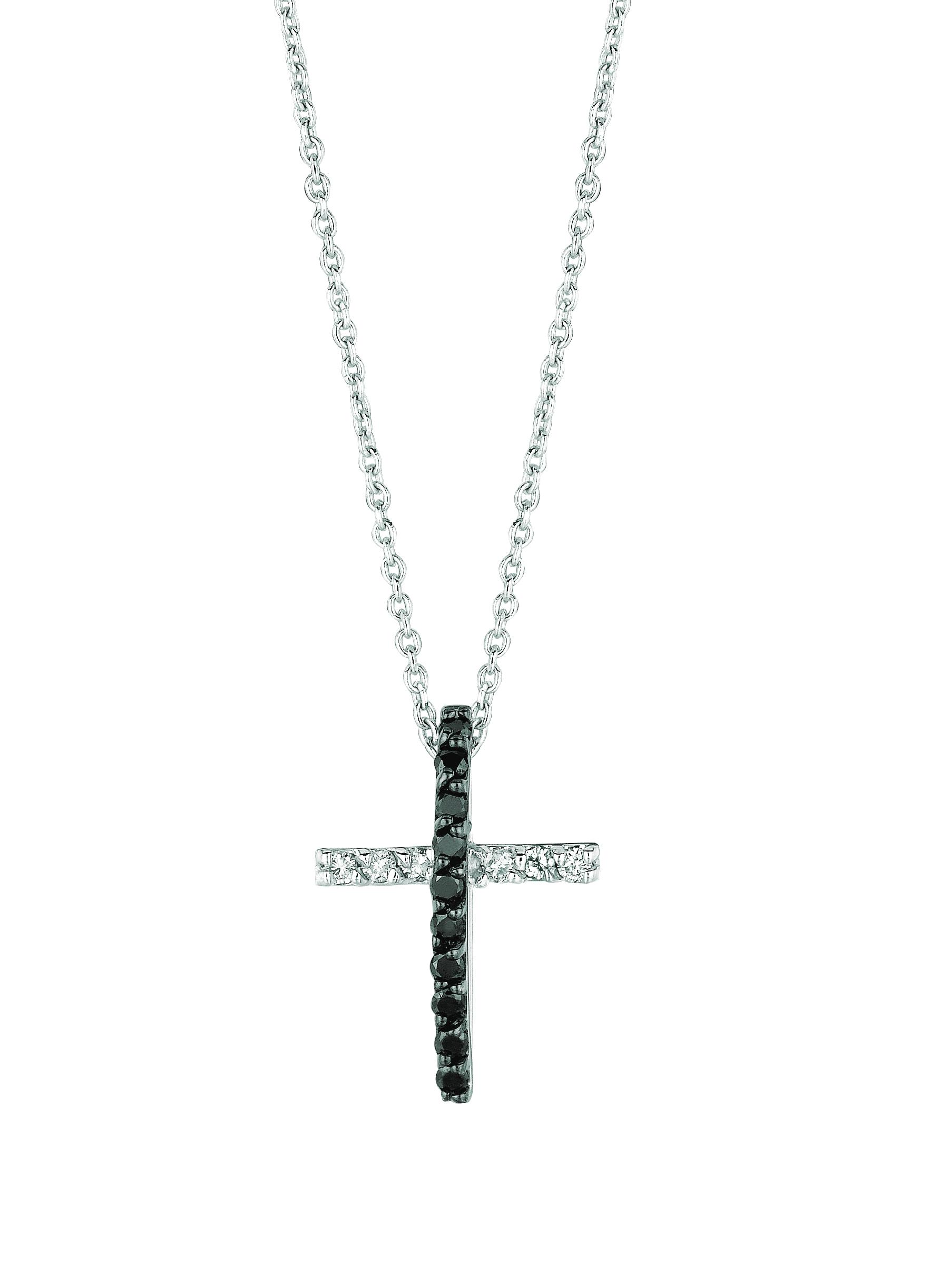 Black & white diamond cross necklace. Price: $520.00
