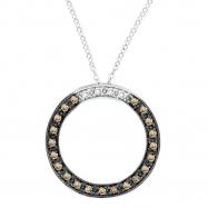 Champagne Diamond Circle Necklace Pendant