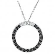 Black Diamond Circle Pendant Necklace