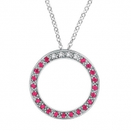 Diamond & Pink Sapphire Circle Pendant Necklace