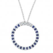 Diamond & Sapphire Circle Necklace