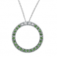 Diamond & Tsavorite Pendant Necklace