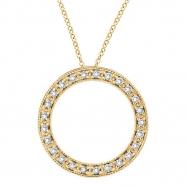 Diamond Circle Necklace Pendant 14K Yellow Gold