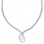 Designer Diamond Necklace, 14K White Gold