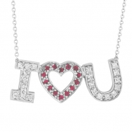 Diamond & Pink Sapphire I Love You Pendant Necklace