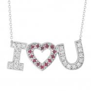 Diamond & Pink Sapphire I Love You Pendant Necklace