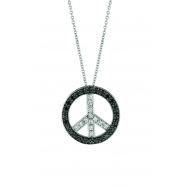 Black & White Diamond Peace Sign Pendant Necklace