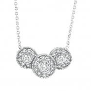 Bezel Diamond Chain Necklace White Gold