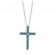 Blue & white diamond cross necklace