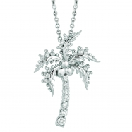 Diamond coconut tree necklace