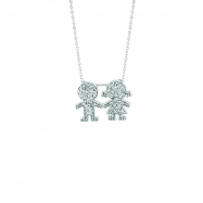 Diamond boy & girl necklace