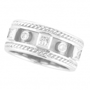 Antique Style Diamond Ring Band White Gold